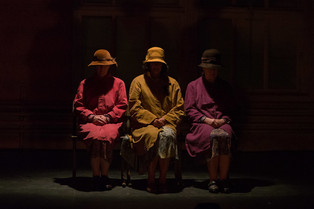 """NEW YORK, NY- SEPTEMBER 19, 2017: From left: Michèle Forbes,  Joan Davis, and Bríd Ní Neachtain perform Samuel Beckett's """"Come and Go,"""" part of Company SJ's production of """"Beckett in the City: The Women Speak"""" presented by Irish Arts Center in Manhattan. CREDIT: Emon Hassan for The New York Times"""