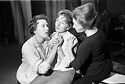 """14/09/1964<br /> 09/14/1964<br /> 14 September 1964<br /> Rehearsal for """"An Triail"""" by Mired Ní Ghrada, which Gael-Linn presented at Damer Hall from the 22/09/1964. It was the only Irish Language contribution to the Dublin Theatre Festival that year. Play was produced by Tomás Mac Anna. Image shows actress's Sinead Cól; Aine Ní Muiri and Brenda Nic Roibín."""