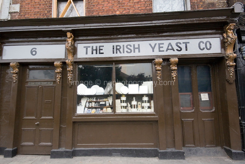 Traditional shopfront for the Irish Yeast Company in Dublin Ireland who sell baking equipment and cake decorations