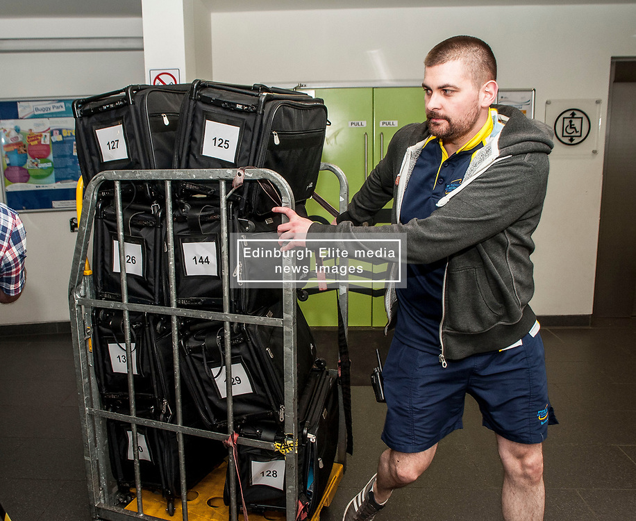 The first ballot boxes from polling stations in the Glenrothes constituency arrive at the Fife counting centre in Glenrothes.<br /> <br /> © Dave Johnston/ EEm