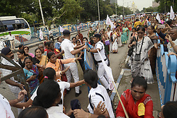 July 4, 2018 - Kolkata, West Bengal, India - Women activist break the law and block the road during the AIDWA protest rally. Activist of All India Democratic Women's Association or AIDWA take part in a rally to protest against Union and State Government for various issue. (Credit Image: © Saikat Paul/Pacific Press via ZUMA Wire)