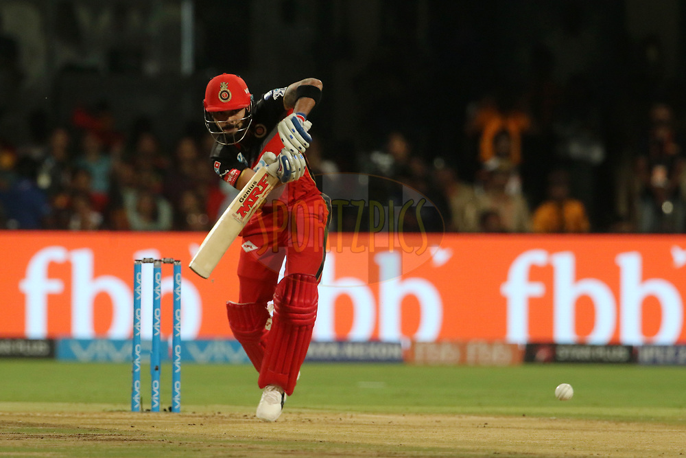 Virat Kohli captain of the Royal Challengers Bangalore plays a shot during match fifty one of the Vivo Indian Premier League 2018 (IPL 2018) between the Royal Challengers Bangalore and the Sunrisers Hyderabad held at the M. Chinnaswamy Stadium in Bangalore on the 17th May 2018.<br /> <br /> Photo by: Vipin Pawar /SPORTZPICS for BCCI