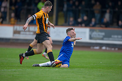 Cove Rangers Mitchel Megginson brought down by Berwick Rangers Ross Brown who got a red card. half time : Berwick Rangers 0 v 1 Cove Rangers, League Two Play-Off Second Leg played 18/5/2019 at Berwick Rangers Stadium Shielfield Park.