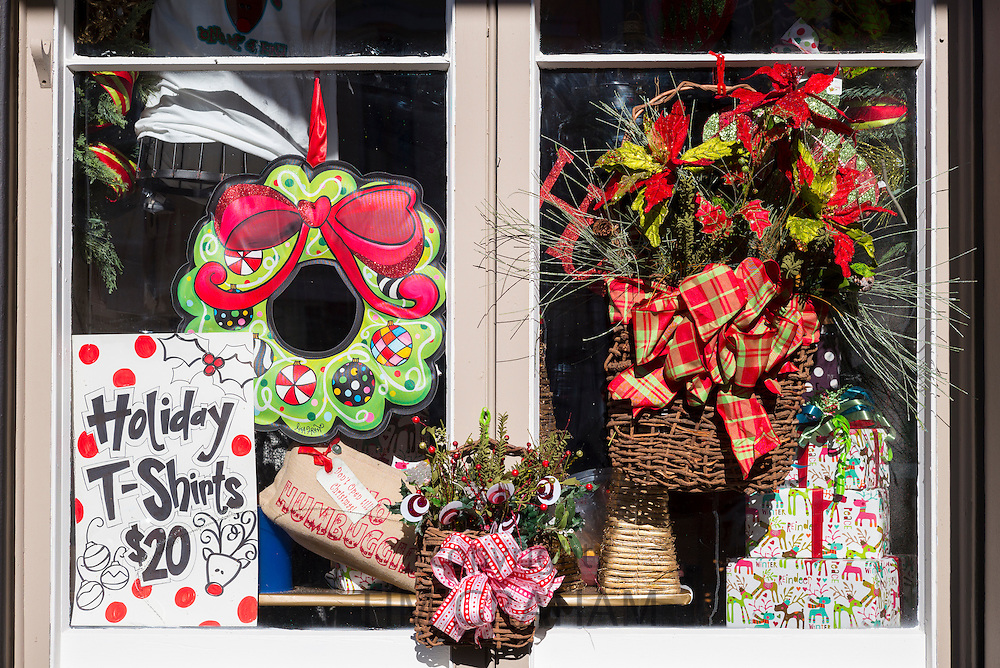Bright color fun items in gift shop window along Main Street in Natchez, Mississippi USA