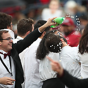 NEW HAVEN, CONNECTICUT - NOVEMBER 18:  Harvard band members get a soaking during the Yale V Harvard, Ivy League Football match at the Yale Bowl. Yale won the game 24-3 to win their first outright league title since 1980. The game was the 134th meeting between Harvard and Yale, a historic rivalry that dates back to 1875. New Haven, Connecticut. 18th November 2017. (Photo by Tim Clayton/Corbis via Getty Images)