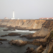 Point Arena Light lighthouse is seen in the fog, on September 10, 2013 in Mendocino County, California, two miles north of Point Arena. It is located approximately 130 miles north of San Francisco in the Fort Point Group of lighthouses. (AP Photo/Alex Menendez)