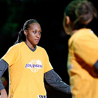 19 June 2014: Los Angeles Sparks forward/center Sandrine Gruda (7) is seen during the players introduction prior to the Los Angeles Sparks 87-77 victory over the Tulsa Shock, at the Staples Center, Los Angeles, California, USA.