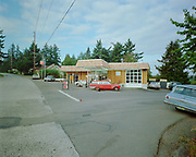 8609-S01.  Handy Andy Service Station after remodeling. owned by Andy Anderegg, 7991 SW Capitol Highway at intersection of Multnomah Blvd.  1966