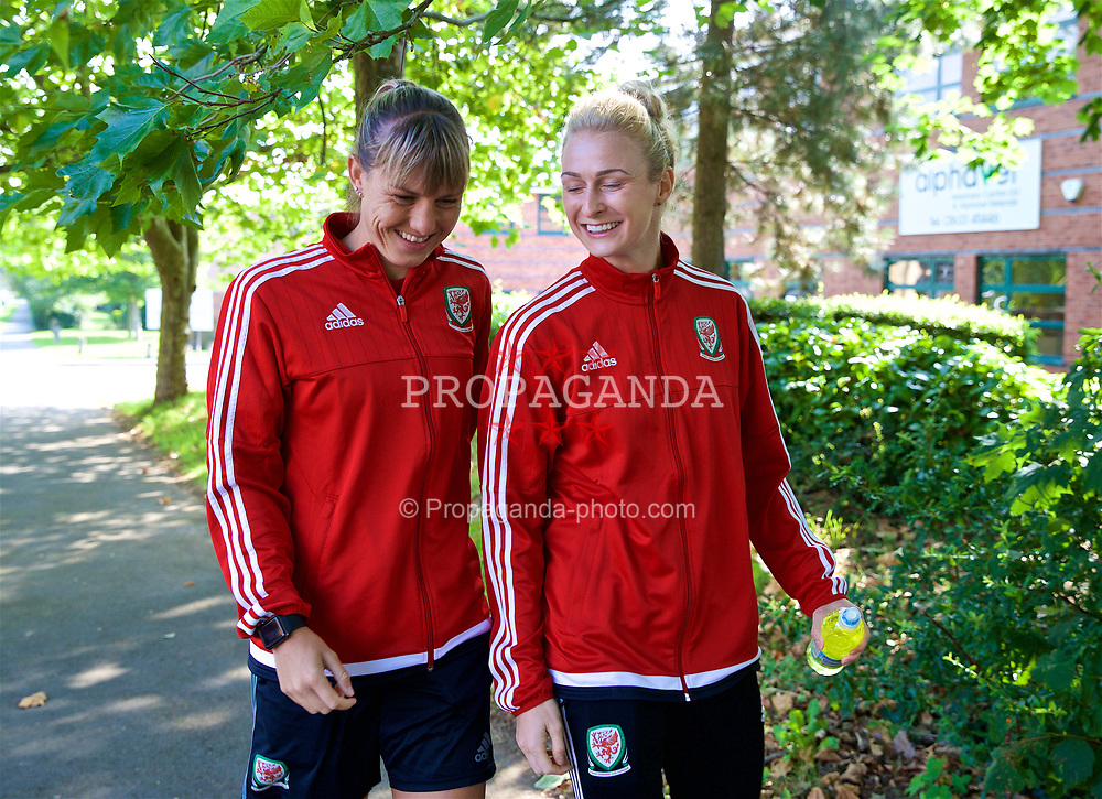 NEWPORT, WALES - Friday, August 31, 2018: Wales' Gemma Evans and Rhiannon Roberts during a pre-match team walk ahead of the FIFA Women's World Cup 2019 Qualifying Round Group 1 match between Wales and England. (Pic by David Rawcliffe/Propaganda)