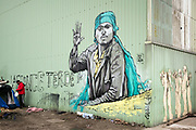 Calais, France, 23 Februari 2015, With Hope for Everyone, Grafittyartist Moirione, welcomes guests at Tioxide.