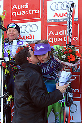 Slovenian prime minister Borut Pahor kisses First placed after second run Tina Maze of Slovenia at Maribor women giant slalom race of Audi FIS Ski World Cup 2008-09, in Maribor, Slovenia, on January 10, 2009. (Photo by Vid Ponikvar / Sportida)
