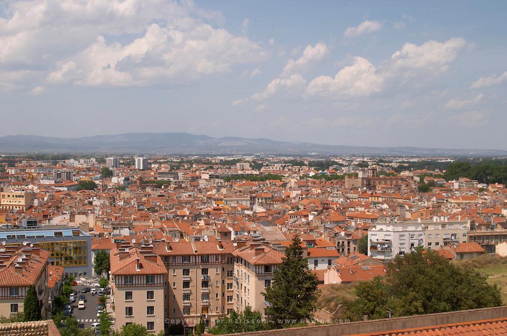 Palais des Rois de Majorque, Palace of the Majorca Kings. View over the city. Perpignan, Roussillon, France.