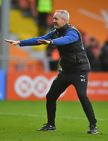 Blackpool's Manager Neil Critchley. Celebrates the win<br /> <br /> Photographer Dave Howarth/CameraSport<br /> <br /> The EFL Sky Bet Championship - Blackpool v Preston North End - Saturday 23rd October 2021 - Bloomfield Road - Blackpool<br /> <br /> World Copyright © 2020 CameraSport. All rights reserved. 43 Linden Ave. Countesthorpe. Leicester. England. LE8 5PG - Tel: +44 (0) 116 277 4147 - admin@camerasport.com - www.camerasport.com