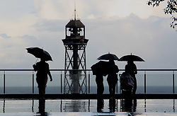 Silhouettes in the rain in Barcelona