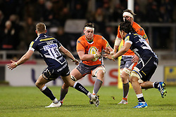 Sean Robinson of Newcastle Falcons takes on Mike Haley of Sale Sharks - Mandatory by-line: Matt McNulty/JMP - 10/02/2017 - RUGBY - AJ Bell Stadium - Sale, England - Sale Sharks v Newcastle Falcons - Aviva Premiership