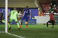 AFC Wimbledon striker Tom Elliott (9) crosses the ball during the EFL Trophy match between AFC Wimbledon and U23 Brighton and Hove Albion at the Cherry Red Records Stadium, Kingston, England on 6 December 2016. Photo by Stuart Butcher.