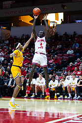 NORMAL, IL - February 15: Abdou Ndiaye shoots a jump shot from just outside the paint defended by Donovan Clay  during a college basketball game between the ISU Redbirds and the Valparaiso Crusaders on February 15 2020 at Redbird Arena in Normal, IL. (Photo by Alan Look)