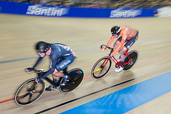 March 2, 2019 - Pruszkow, Poland - Campbell Stewart of New Zealand (L) and Jan Wilem Van Schip (NED) compete in the Men's Omnium Final on day four of the UCI Track Cycling World Championships held in the BGZ BNP Paribas Velodrome Arena on March 02 2019 in Pruszkow, Poland. (Credit Image: © Foto Olimpik/NurPhoto via ZUMA Press)