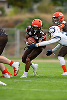 KELOWNA, BC - SEPTEMBER 8:  Malcolm Miller #3 of Okanagan Sun runs with the ball after the hand off from Alex Douglas #1 against the Langley Rams]  at the Apple Bowl on September 8, 2019 in Kelowna, Canada. (Photo by Marissa Baecker/Shoot the Breeze)