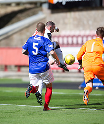 Dunfermline's Michael Moffat scoring their third goal. <br /> Half time : Dunfermline 4 v 0 Cowdenbeath, SPFL Ladbrokes League Division One game played 15/8/2015 at East End Park.