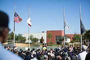 Milpitas Mayor Jose Esteves speaks during the Memorial Day Ceremony at Milpitas City Hall's Veterans Plaza in Milpitas, California, on May 26, 2014. (Stan Olszewski/SOSKIphoto)