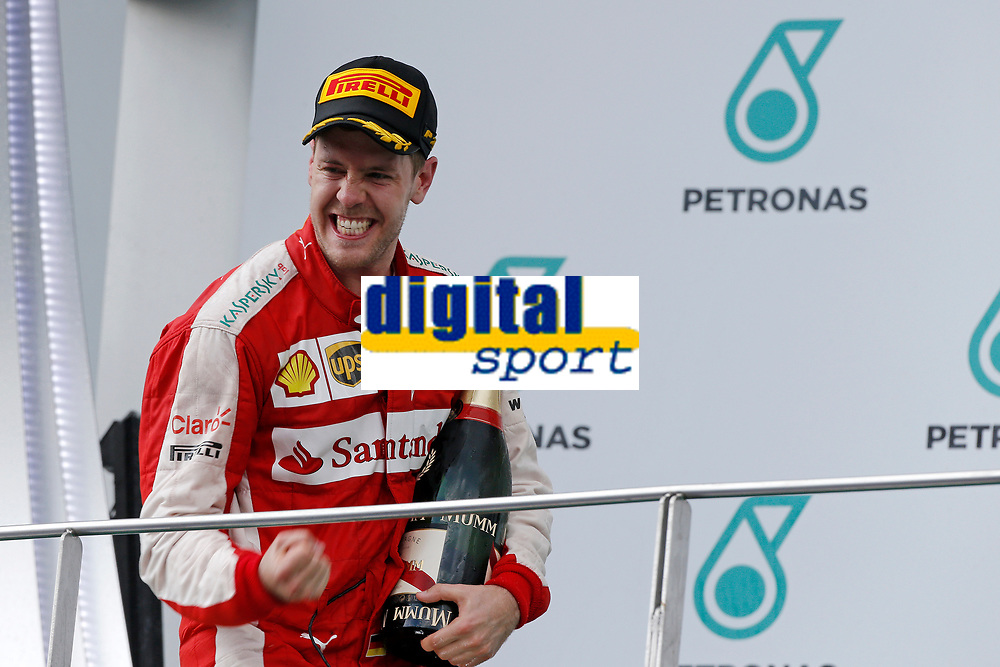 VETTEL sebastian (ger) ferrari sf15t ambiance portrait podium during 2015 Formula 1 FIA world championship, Malaysia Grand Prix, at Sepang from March 27th to 30th. Photo Francois Flamand / DPPI