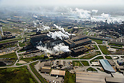 Nederland, Noord-Holland, IJmuiden , 09-04-2014; IJmuiden Steel Works van Tata Steel. Oxystaalfabriek en walserijen. Hoogovens rechts. Oxystaalfabriek<br /> IJmuiden Steel Works, part of Tata Steel. <br /> luchtfoto (toeslag op standard tarieven);<br /> aerial photo (additional fee required);<br /> copyright foto/photo Siebe Swart