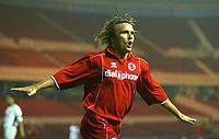Fotball<br /> Foto: SBI/Digitalsport<br /> NORWAY ONLY<br /> <br /> Middlesbrough v Real Mallorca<br /> Pre-Season Football Friendly, Riverside Stadium, Middlesbrough 04/08/2004.<br /> Middlesbrough's Bolo Zenden celebrates scoring his team's first goal.