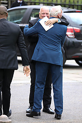 Andy Gray and Bob Wilson depart from Ray Wilkins' memorial service at St Luke's church in Chelsea.<br /> <br /> 1 May 2018.<br /> <br /> Please byline: Vantagenews.com