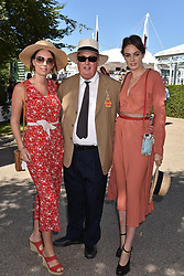Left to right, Lady Eliza Manners, The Duke of Rutland and Lady Violet Manners at the Qatar Goodwood Festival - Glorious Goodwood, Goodwood Racecourse, West Sussex 02 August 2018.