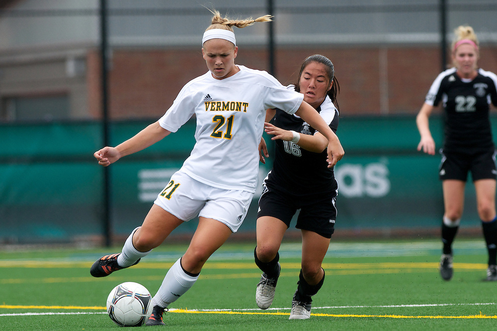 Vermont forward Bre Pletnick (21) in action during the women's soccer game between the Brown Bears and the Vermont Catamounts at Virtue Field on Saturday afternoon September 8, 2012 in Burlington, Vermont.