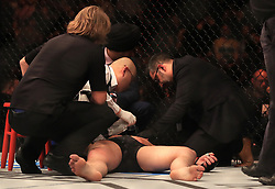 Darren Till receives medical attention after being knocked out by Jorge Masvidal in their Welterweight bout during UFC Fight Night 147 at The O2 Arena, London.