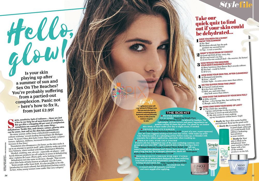 'Hello Glow!' A double page beauty feature with some tips on how to breathe life back into your dehydrated summer skin in the August issue of Reveal magazine, UK.<br /> <br /> Main image from our shoot 'all summer long' which is available for worldwide use with approval:  http://www.apixsyndication.com/gallery/all-summer-long/G0000nqeuOc0x86A/C0000mozbWc6K5.E