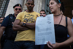August 28, 2017 - Rome, Italy, Italy - On 28 August 2017 in Rome, Italy, a delegation of refugees evicted from the property in via Curtatone, the Cinecittà building and some representatives of the Movement for the Right to Bearded have delivered a letter to the Prefecture to request an interinstitutional table to talk about the housing problem of the Capital. At the end of the meeting members of the delegation informed the reporters that the table could be convened in the next few days  (Credit Image: © Andrea Ronchini/NurPhoto via ZUMA Press)
