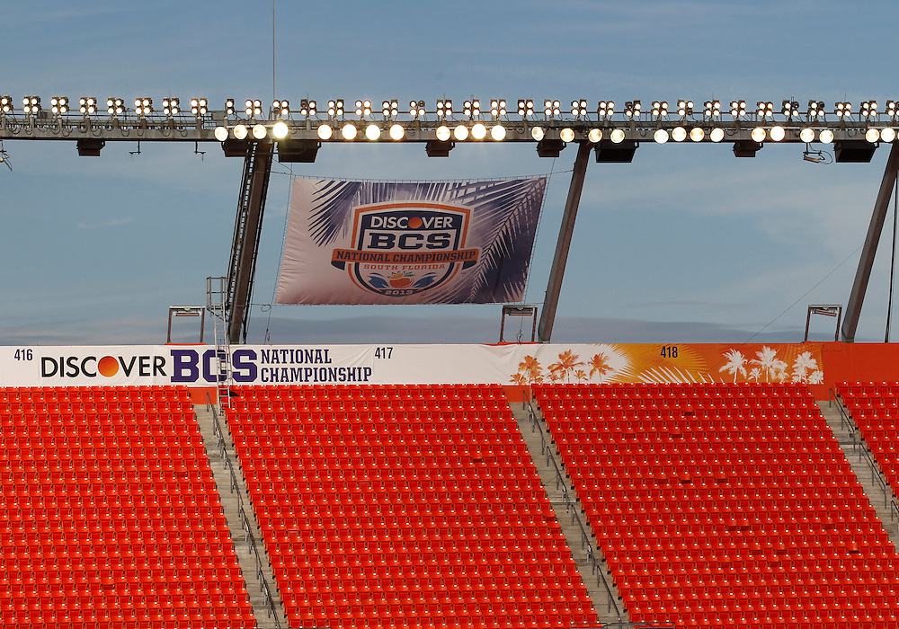 January 7, 2013:  A general view of the stadium prior to the Discover BCS National Championship between the Alabama Crimson Tide and the Notre Dame Fighting Irish at Sun Life Stadium in Miami Gardens, Florida.