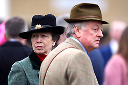 The Princess Royal and Andrew Parker Bowles during St Patrick's Thursday of the 2017 Cheltenham Festival at Cheltenham Racecourse.