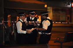 © Licensed to London News Pictures. 22/08/2013<br /> A man has been in stabbed in Bexleyheath this evening. Emergency services were called to the Broadway, near McDonalds, at 8.15pm  tonight (22.08.2013) <br />  The man, aged in his late 50s, was treated at the scene before being rushed to a south London hospital with a stab wound where his condition is desribed as stable. <br /> A man was arrested in connection with the incident and has in custody in a south London police station. Police have cordoned off a large section of the Broadway following the incident. <br /> Photo credit :Grant Falvey/LNP