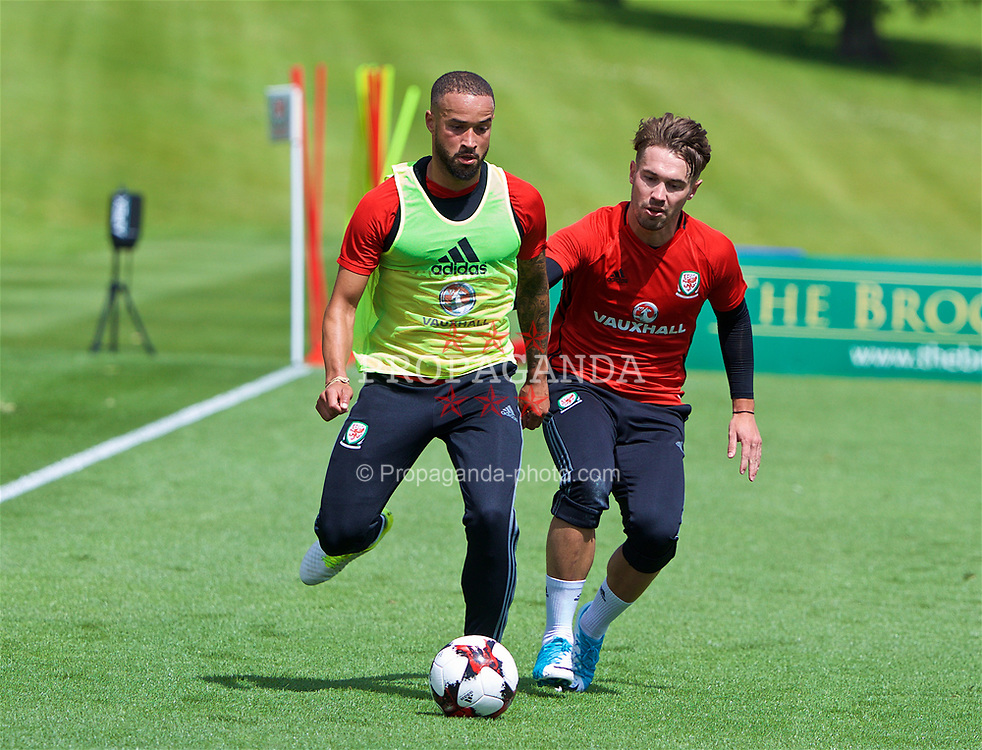 CARDIFF, WALES - Wednesday, June 7, 2017: Wales' Ashley 'Jazz' Richards and Tom Bradshaw during a training session at the Vale Resort ahead of the 2018 FIFA World Cup Qualifying Group D match against Serbia. (Pic by David Rawcliffe/Propaganda)