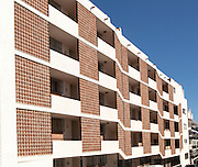 Modern architecture of apartment housing in the town centre of Nerja, Malaga province, Spain