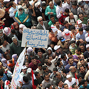 Amid the sea of protesters in Tahrir Square, a lone placard says that because of Mubarak's family, Egyptians should not trust Field Marshal Tantawi, their transitional ruler.