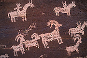Petroglyphs near Wolfe Ranch, Arches National Park, Utah USA
