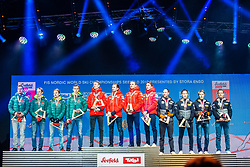 02.03.2019, Seefeld, AUT, FIS Weltmeisterschaften Ski Nordisch, Seefeld 2019, Siegerehrung, im Bild v.l. Silbermedaillengewinner Vinzenz Geiger (GER), Eric Frenzel (GER), Johannes Rydzek (GER), Fabian Riessle (GER), Weltmeister und Goldmedaillengewinner Espen Bjoernstad (NOR), Joergen Graabak (NOR), Jan Schmid (NOR), Jarl Magnus Riiber (NOR), Bronzemedaillengewinner Bernhard Gruber (AUT), Mario Seidl (AUT), Franz-Josef Rehrl (AUT), Lukas Klapfer (AUT) // f.l. Silver medalist Vinzenz Geiger Eric Frenzel Johannes Rydzek Fabian Riessle of Germany World champion and Gold medalist Espen Bjoernstad Joergen Graabak Jan Schmid Jarl Magnus Riiber of Norway and Bronce medalist Bernhard Gruber Mario Seidl Franz-Josef Rehrl Lukas Klapfer of Austria during the winner Ceremony for the FIS Nordic Ski World Championships 2019. Seefeld, Austria on 2019/03/02. EXPA Pictures © 2019, PhotoCredit: EXPA/ Stefan Adelsberger