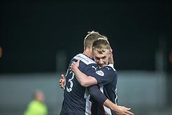 Falkirk's Rory Loy cele scoring their goal. Falkirk 1 v 1 Rangers, Scottish Championship game played 27/2/2014 at The Falkirk Stadium .