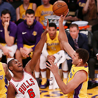 21 November 2017: Los Angeles Lakers center Brook Lopez (11) goes for the bay hook over Chicago Bulls center Cristiano Felicio (6) during the LA Lakers 103-94 victory over the Chicago Bulls, at the Staples Center, Los Angeles, California, USA.