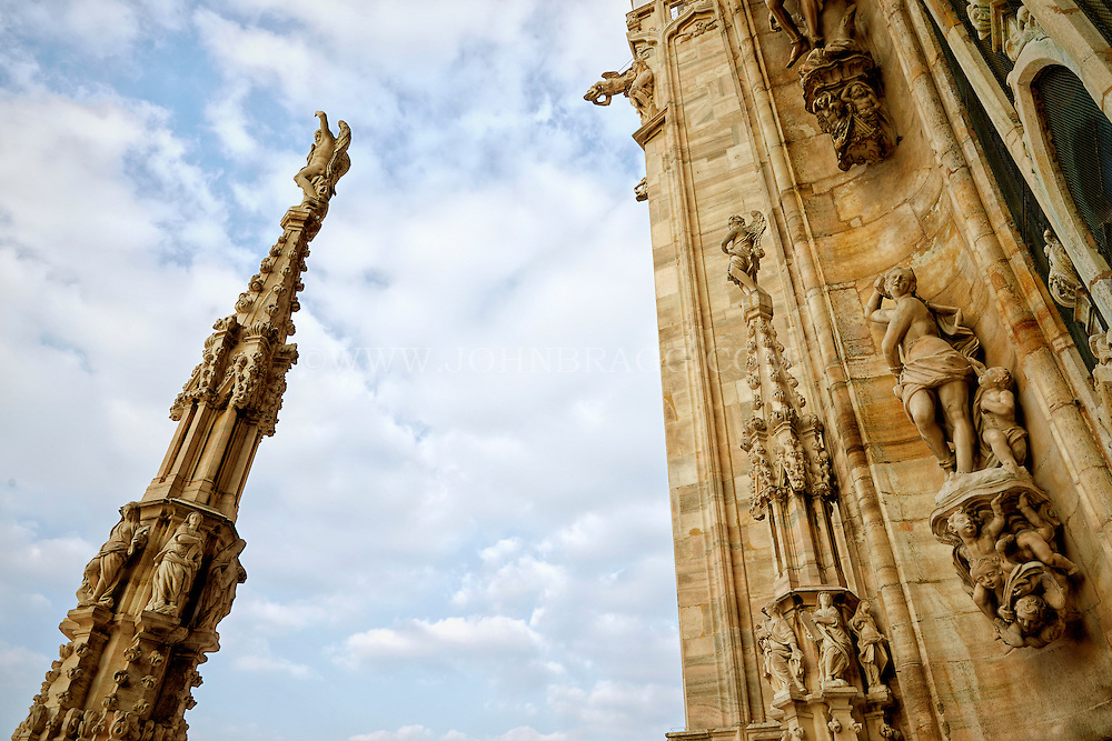 View of spires on the Duomo Cathedral, Milan Italy