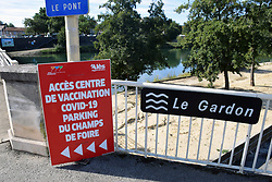 Covid vaccination sign, Ales, Gard, Southern France 2021