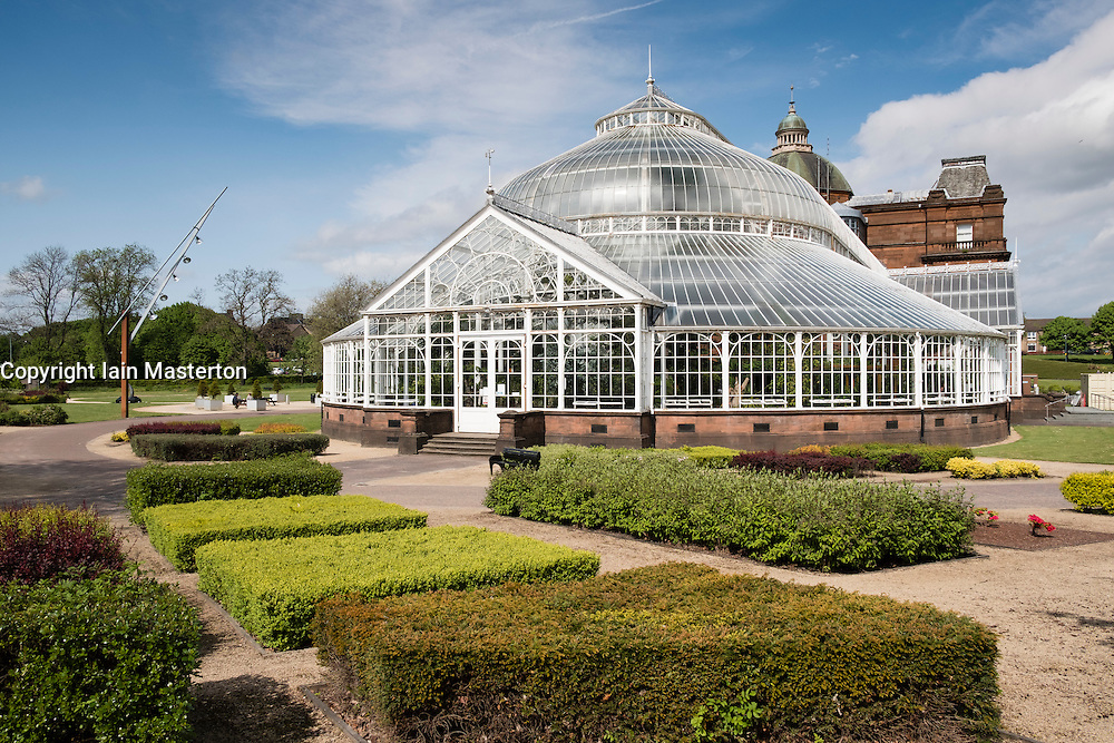 Winter Gardens glasshouse at People's Palace Museum on Glasgow Green public park in Glasgow, Scotland, United kingdom