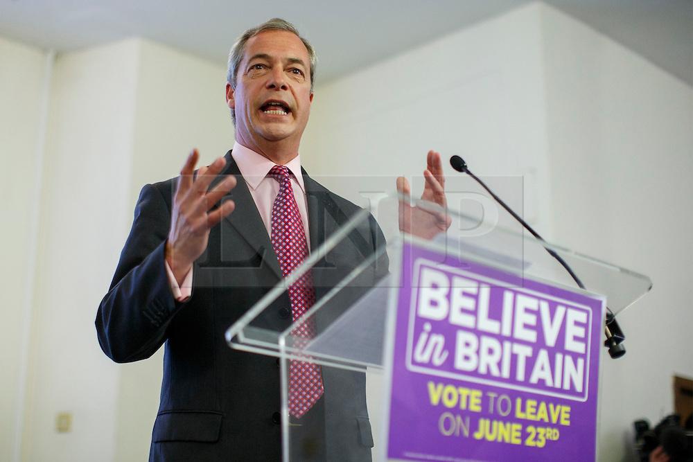 © Licensed to London News Pictures. 22/06/2016. London, UK. UKIP Leader NIGEL FARAGE makes his final speech of the EU Referendum Campaign on Wednesday, 22 June 2016 at Emmanuel Centre in London ahead of the EU Referendum. Photo credit: Tolga Akmen/LNP