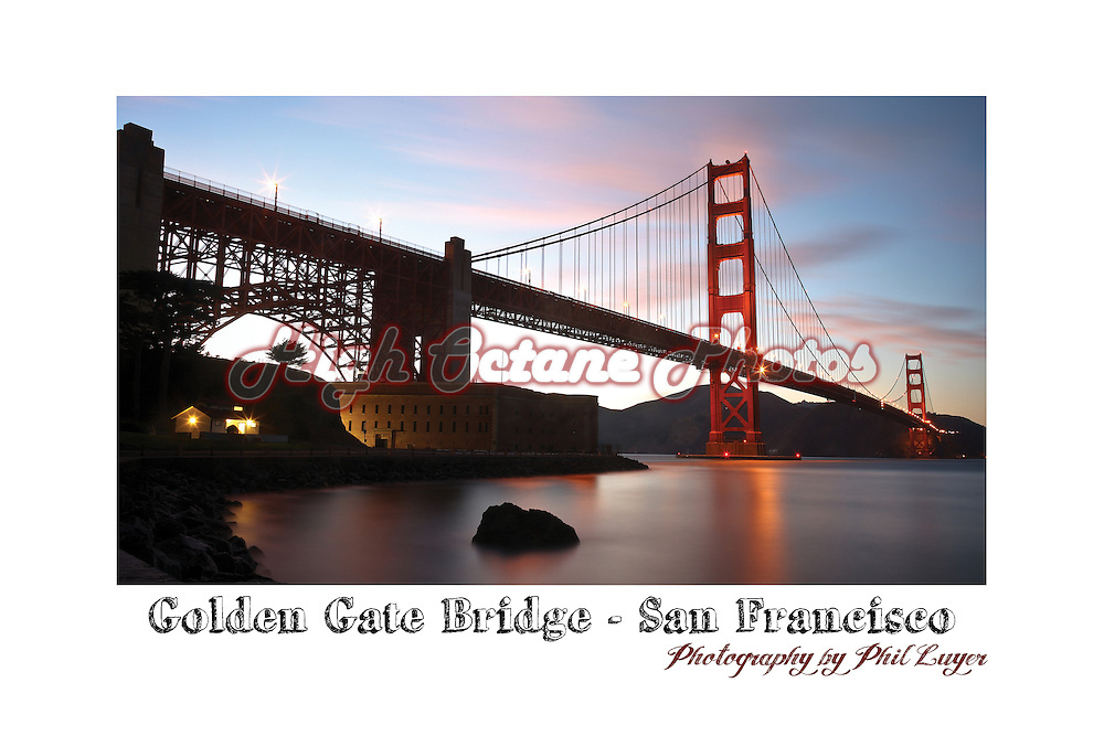 San Francisco's world famous Golden Gate Bridge, shot with a long exposure just after sunset.  Shortly after taking this shot we were joined by the local cops who informed us the area we were shooting from was now closed for the evening.