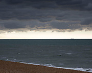 A stormy sea across the English Channel with France in the distance, 6th October 2016, Folkestone, Kent, United Kingdom.